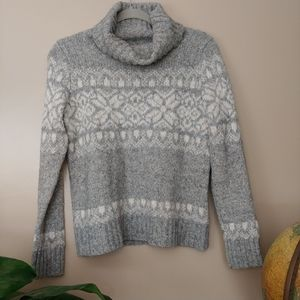 LL Bean Gray Pullover Turtleneck Sweater Small